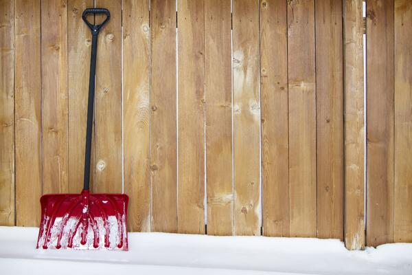 Snow Shovel on a Fence Row