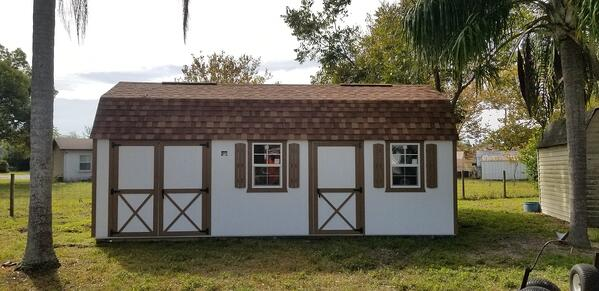 Handyman - Lofted 12X24 White with Brown siding