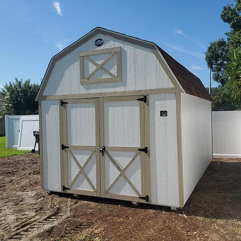 Lofted-Barn-10X16 in white with tan trim