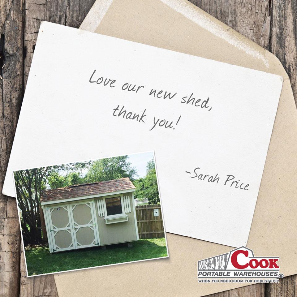 Cook Sheds Testimonial