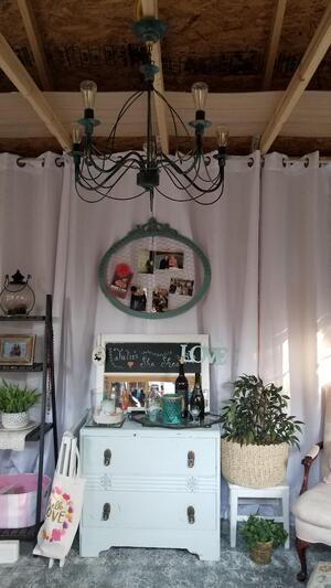 Inside Julie's She Shed Featuring Blue Chest