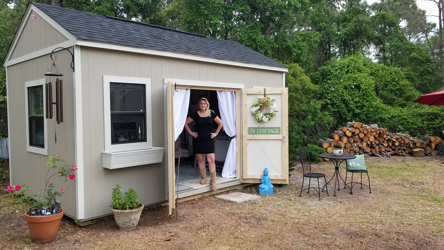 Julie with her she shed!