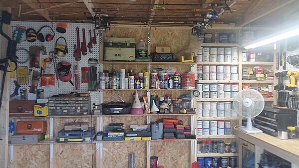 Rich's inside of his tool shed
