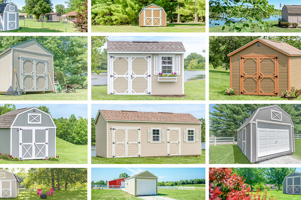A variety of shed styles