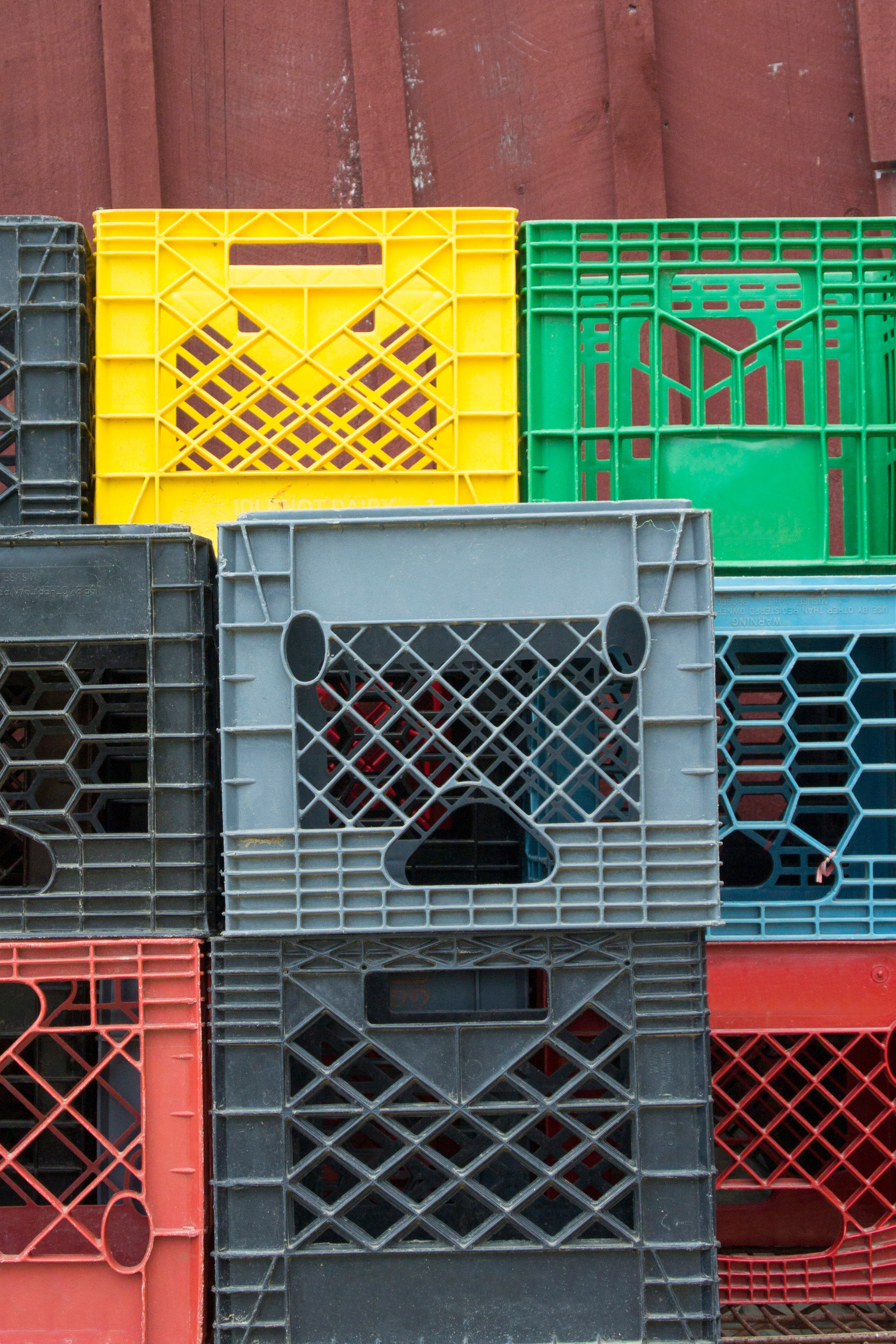 milk crates in shed