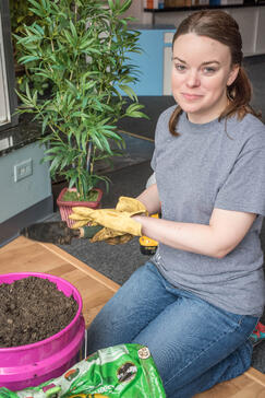 Catie starting her Container Garden