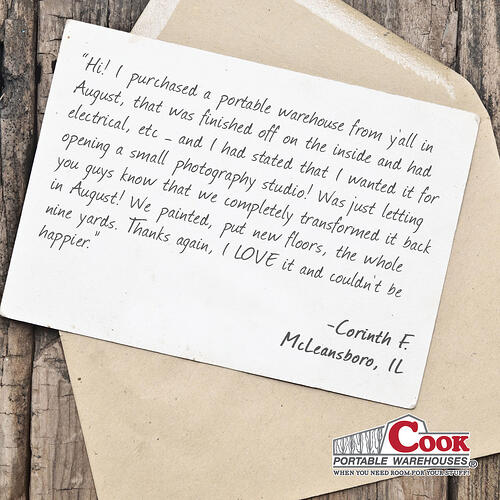 Cook Shed Testimonial + Cook Portable Warehouses