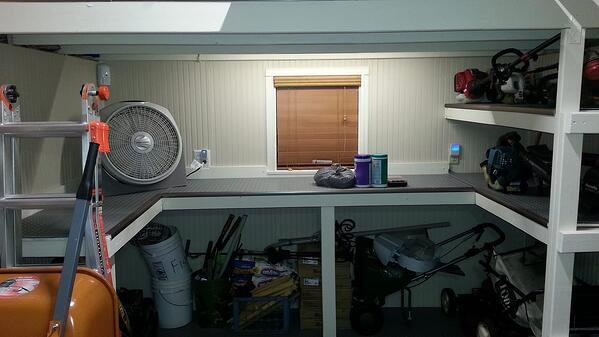jimmy's workbench installed inside a cook shed