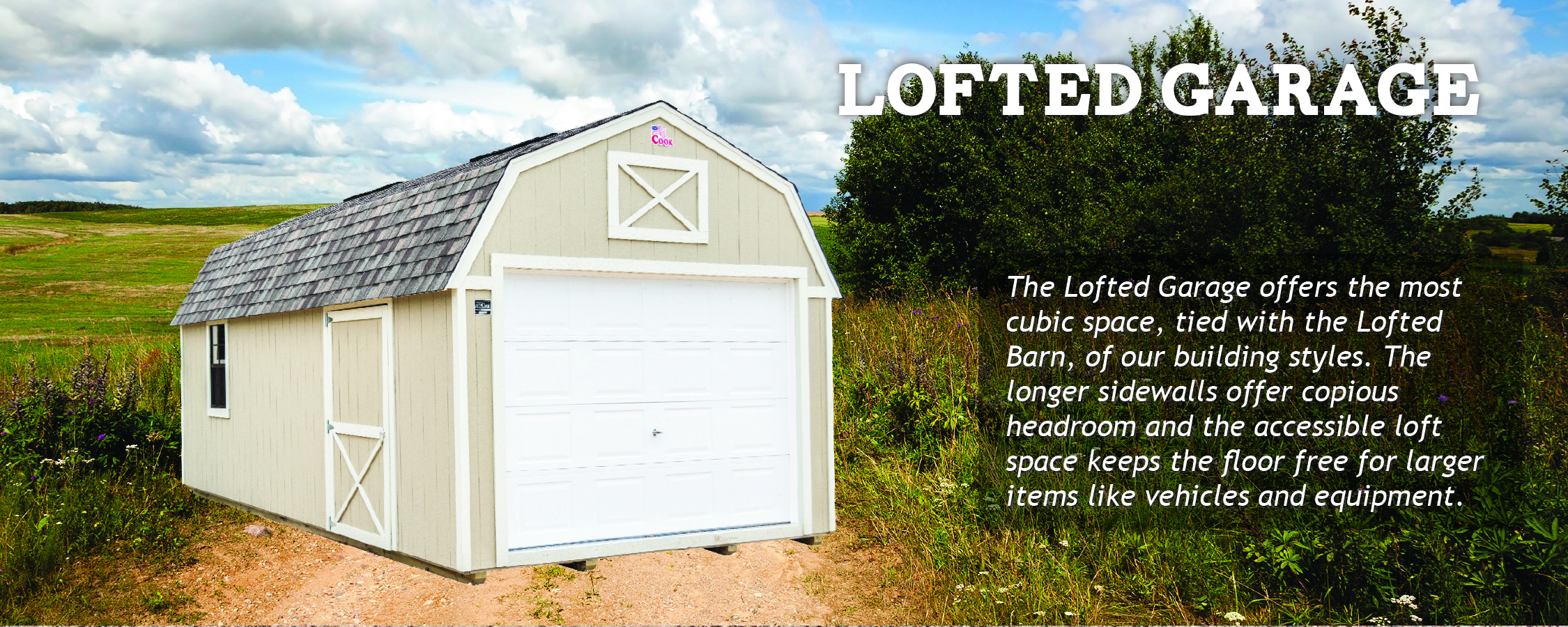 Lofted Garage for storing vehicles & extras