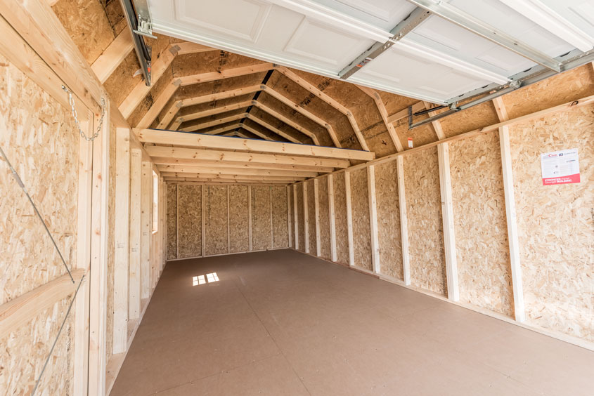 Inside a Lofted Garage with the Door Up