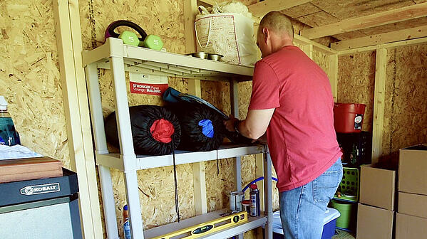 organizing inside shed