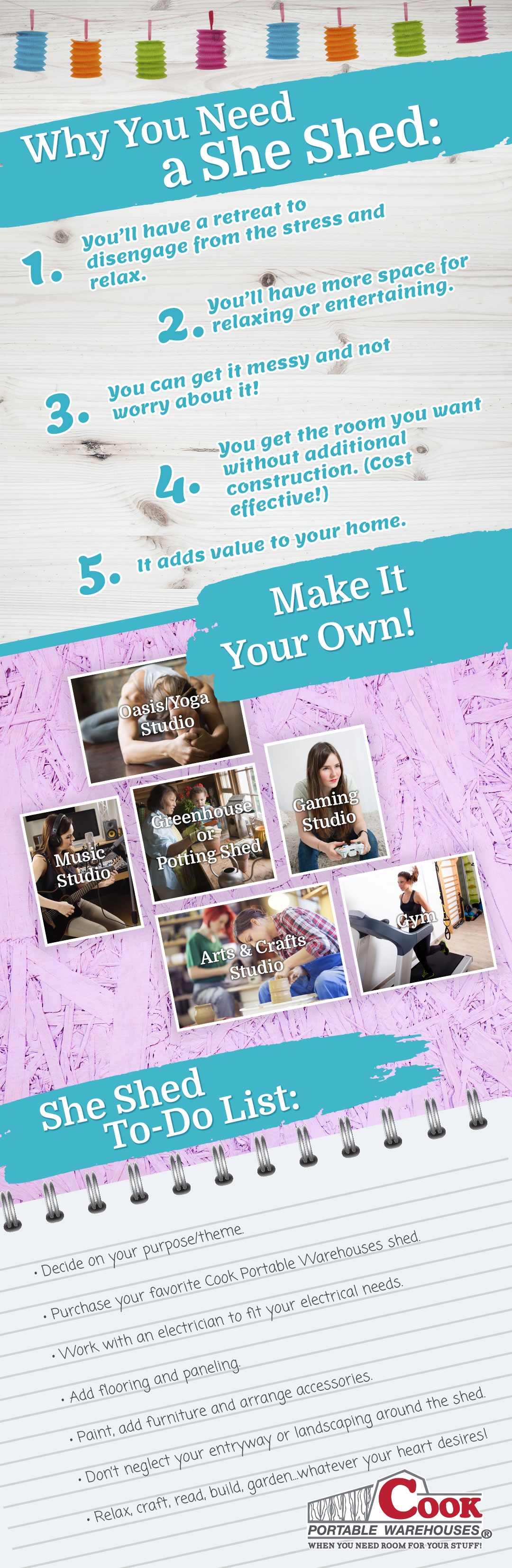 What you need for your she shed Infographic