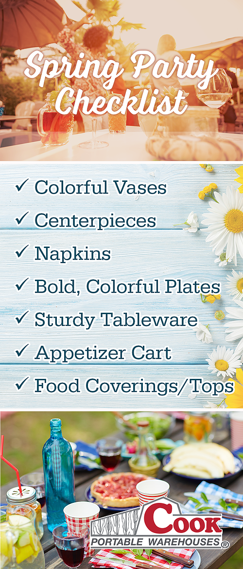 Spring Party Checklist from Cook Portable Warehouses