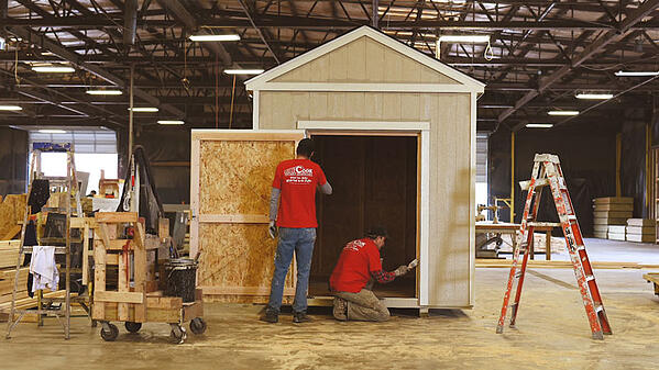 Finishing touches on a Cook shed